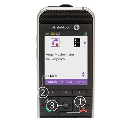 """Alcatel DECT 8232/8242: Im Gespräch drücken Sie (1) die 4-Wege-Navigation nach unten bis Sie (2) im Display """"MFV"""" lesen. Dann mit (3) """"OK"""" bestätigen."""