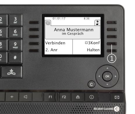 """Alcatel Deskphones: Innerhalb eines Gesprächs holen Sie einen weiteren Gesprächspartner dazu. Es erscheint """"3 Konf"""" (1) im Display. Wählen Sie die entsprechende Funktionstaste. Die 3er-Konferenz ist nun eingeleitet."""
