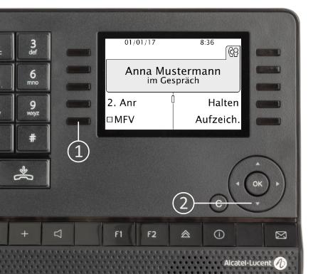 """Alcatel Deskphones: Im Gespräch wählen Sie  (1) """"MFV"""" mit der Funktionstaste aus. Sollte Ihr Display kleiner sein (8029/4029), können Sie (2) mit der 4-Wege-Navigationstaste nach unten die Menüoptionen durchblättern bis """"MFV-Wahl"""" erscheint."""